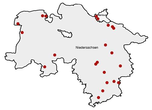 Karte von Niedersachsen und Hamburg | Map of Lower Saxony and Hamburg
