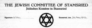 Briefkopf der Jüdischen Gemeinde Stamsried | Letterhead of the Jewish Community of Stamsried