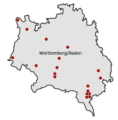 Karte Württemberg/Baden | Map of Wuerttemberg/Baden